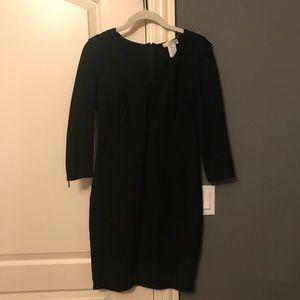 Kenar 3/4 sleeve black dress with zips